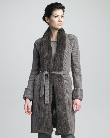 Fur-Trim Cardigan Sweater Coat