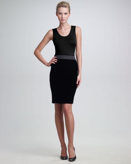 Satin-Waist Pencil Skirt