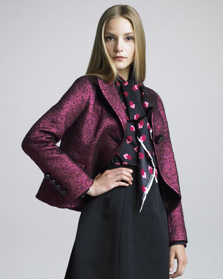 One-Button Boucle Swing Jacket