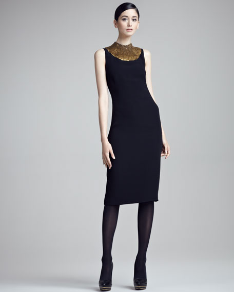 Jodie Sequin-Neck Sleeveless Sheath Dress