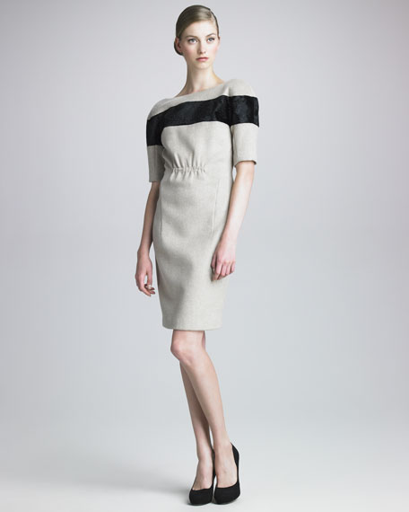 ThakoonCalf Hair-Striped Woolen Dress