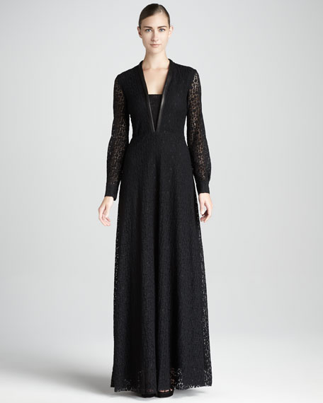 Leather-Trimmed Long-Sleeve Lace Gown