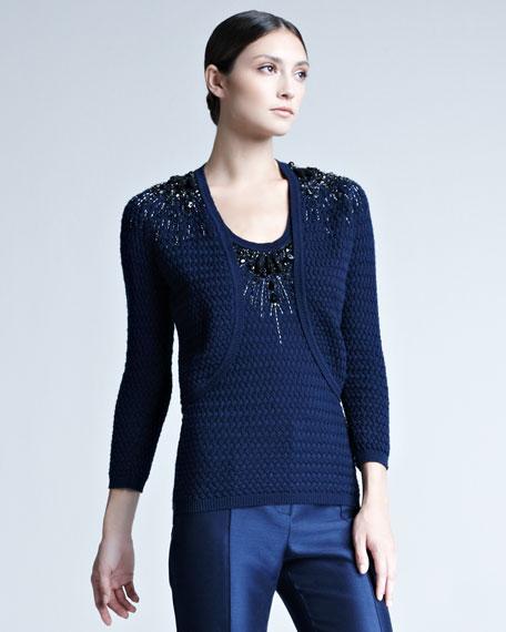 Beaded-Shoulder Knit Bolero