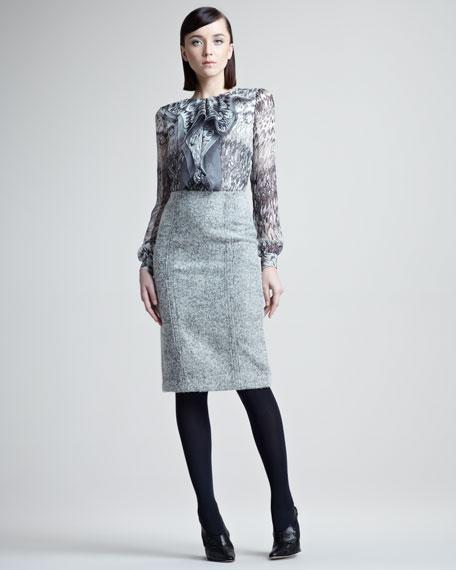 Marble-Print Silk Blouse
