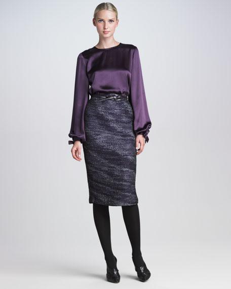 Organza Tweed Pencil Skirt