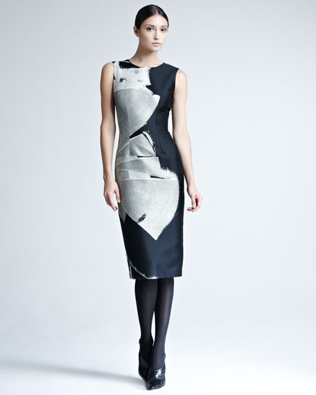 Abstract-Print Jacquard Dress