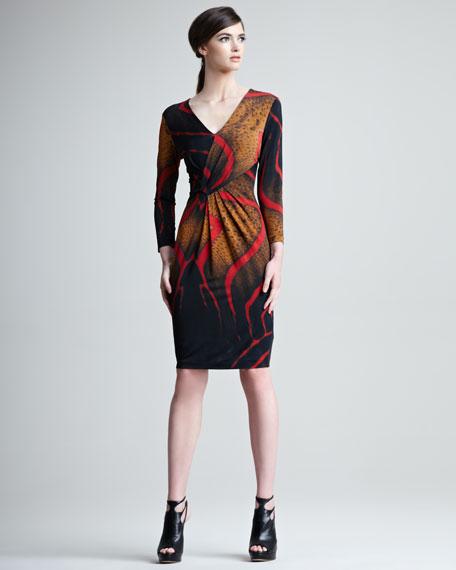Tiger-Print Faux-Wrap Dress