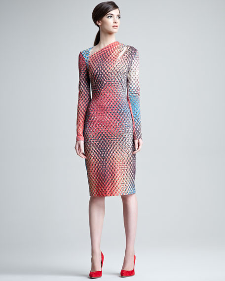 Doriana Tweed-Print Jersey Dress