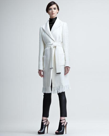 Fringe-Hemmed Tie-Waist Coat