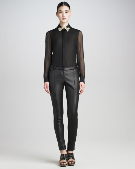 Stretch-Leather Stovepipe Pants