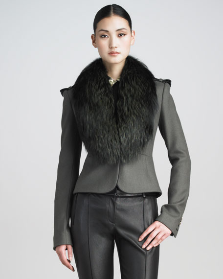 Fox-Collar Fitted Military Jacket