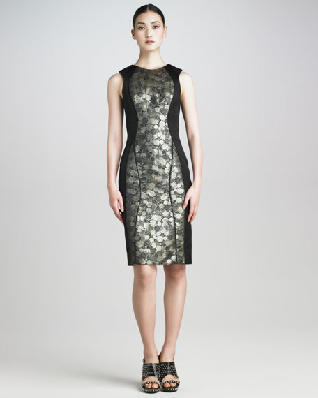 Brocade-Inset Sheath Dress