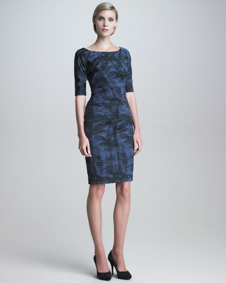 Weathered-Print Stretch Dress