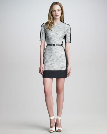 Colorblock Linen-Blend Dress