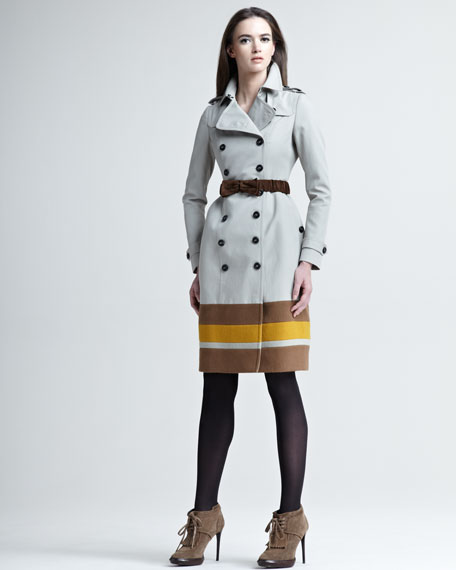 Stripe-Hem Cotton Trenchcoat