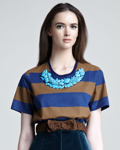 Striped Bead-Neck Tee