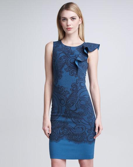 Flutter-Shoulder Sheath Dress