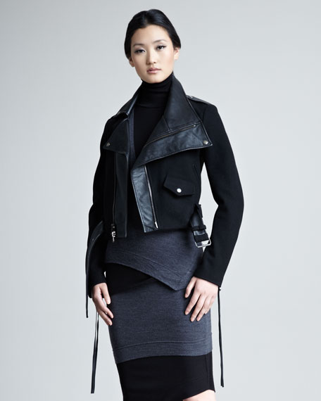 Modern Felt & Leather Moto Jacket