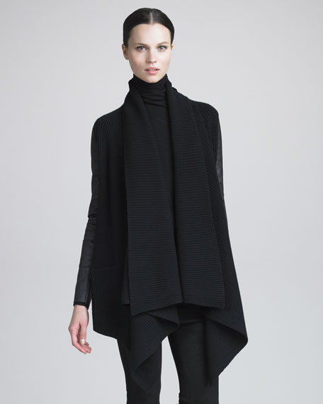 Leather-Sleeve Rib-Knit Sweater