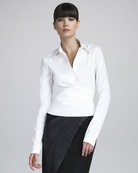 Wrap-Back Stretch Cotton Shirt