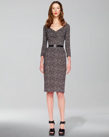 Tweed Herringbone Printed Cady Dress