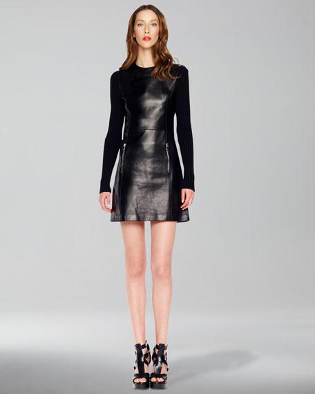 Rib-Sleeve Leather Dress