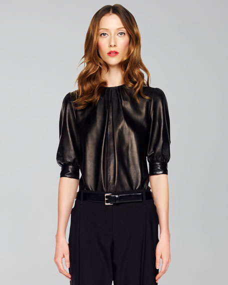 Gathered Leather Top