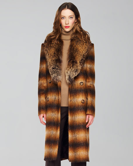 Fox-Collar Brushed Mohair Ombre Plaid Coat