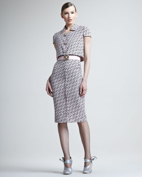 Tweed Trompe-l'Oeil Dress With Jeweled Buttons