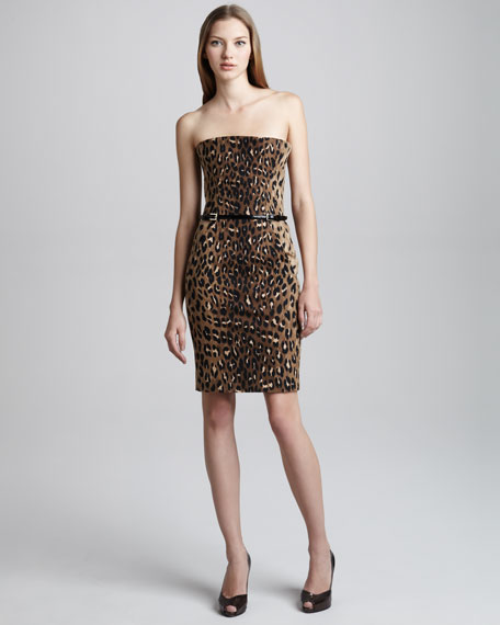 Leopard-Print Straight Corset Dress