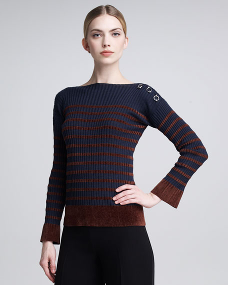 Chenille-Striped Sweater