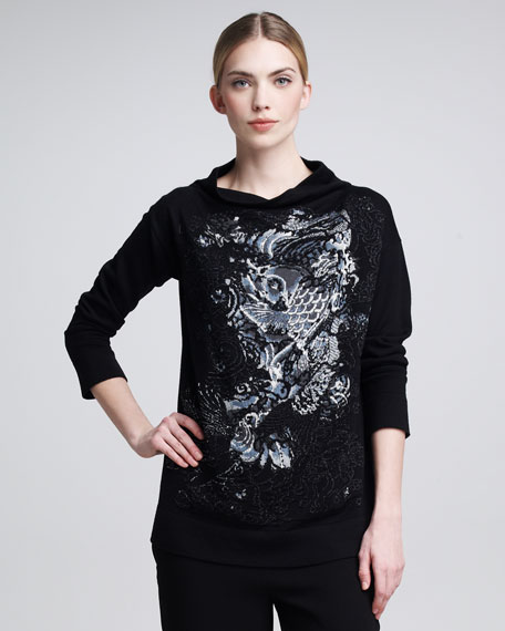 Koi-Embroidered Knit Sweater