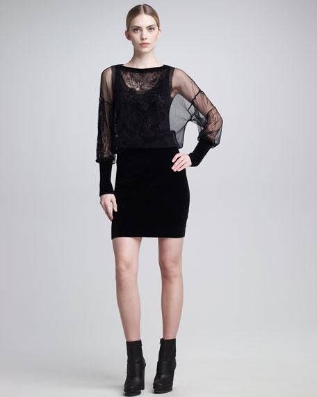Sheer-Blouson Dress