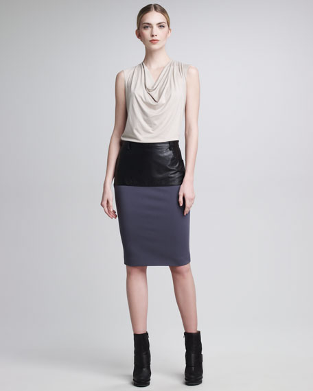 Leather-Paneled Pencil Skirt