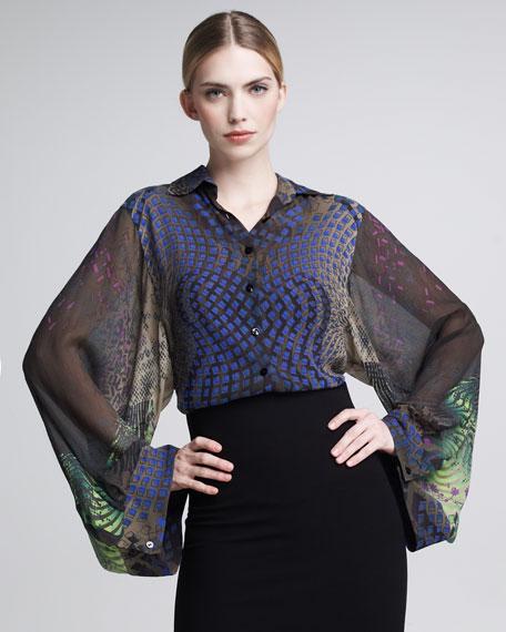 Printed Kimono-Sleeve Blouse