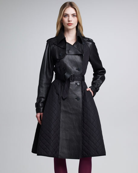 Quilted Tech & Leather Princess Coat