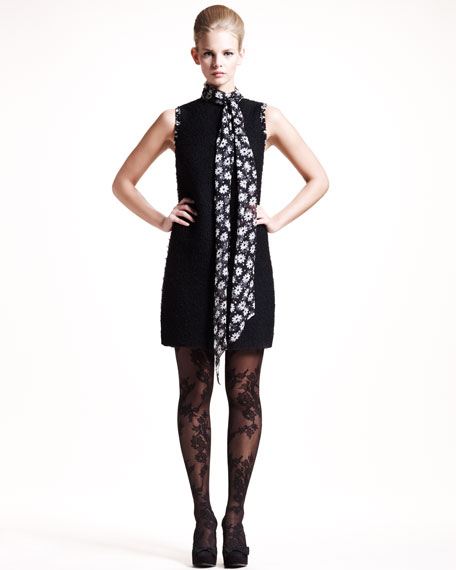 Floral-Scarf Boucle Dress