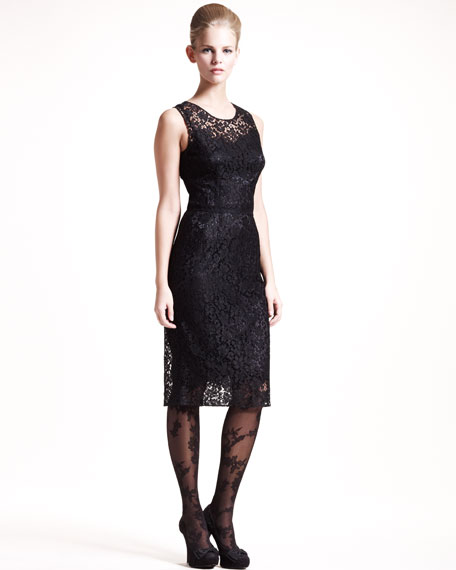 Lace Sheath Dress, Black