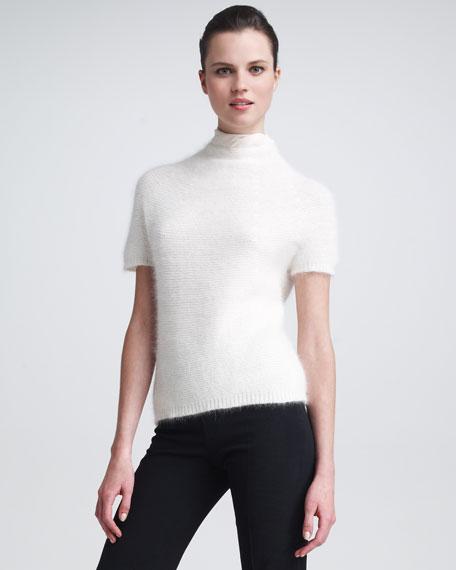 Funnel-Neck Angora Sweater