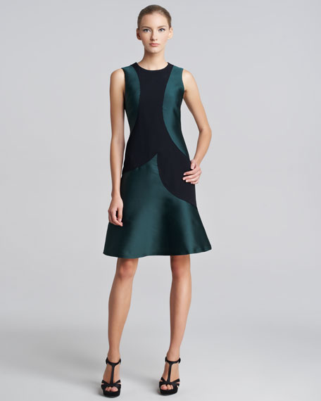 Colorblock Duchesse Crepe Dress