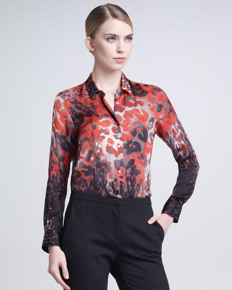 Leopard-Print Blouse, Pink