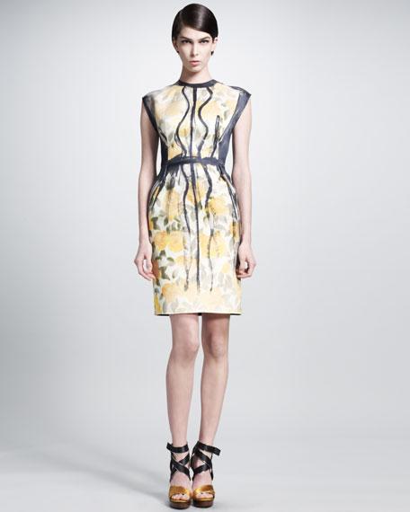 Trompe l'Oeil Painted-Pleat Dress