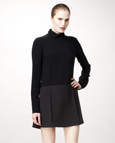 Detachable-Collared Colorblock Dress, Black