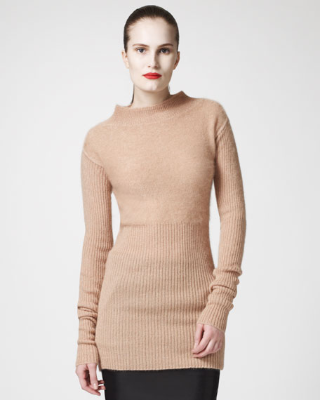 Ribbed Mock-Neck Sweater, Pumpkin
