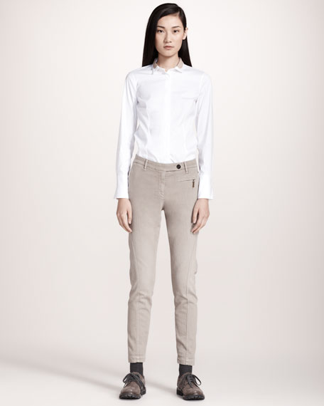 Garment-Dyed Skinny Pants