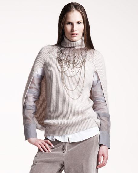 English-Rib Cashmere Cape Sweater