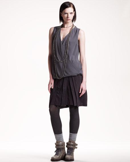 Pleated Gauze Skirt