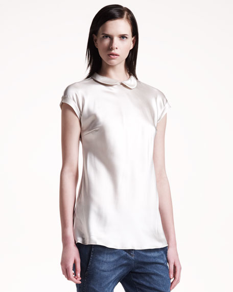 Peter Pan-Collar Silk Top