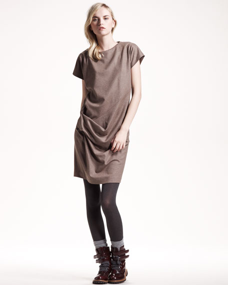 Ruched Flannel Dress