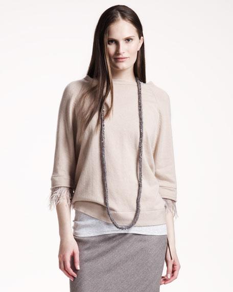 Feather-Trim Cashmere Sweater